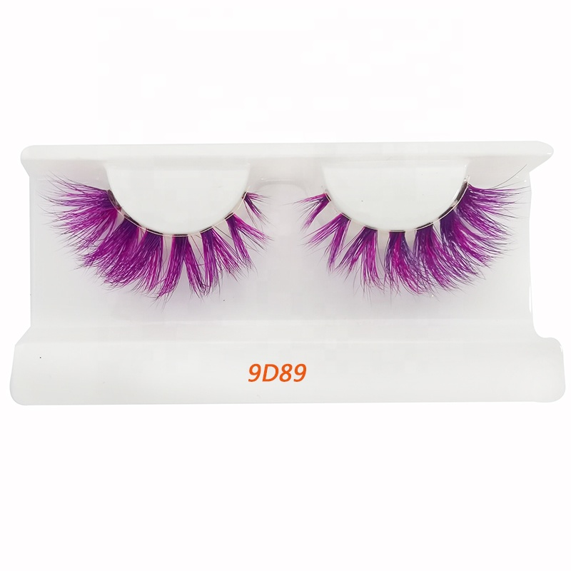 New Design Colorful Mink Lashes Private Label Brown Green Red Rainbow Eyelashes